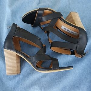 Steve Madden Strappy Sandals Chunky Wood Heels -38